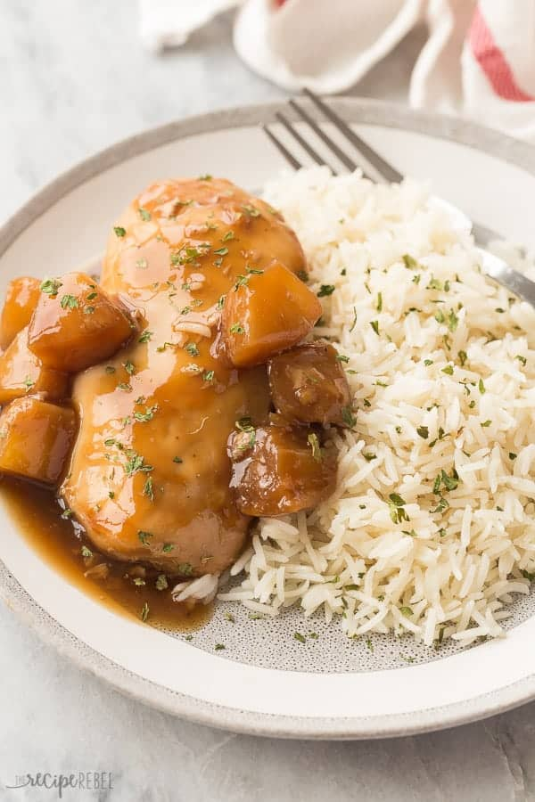 This Instant Pot Pineapple Chicken Recipe is an easy chicken dinner recipe that you can set and forget in your pressure cooker! Serve the chicken and sweet, tangy sauce over rice or noodles for the perfect weeknight dinner! Includes step by step recipe video. #pressurecooker pressure cooker #instantpotchicken #chickenrecipe #chickenrecipes #dinner #recipe #food #chicken