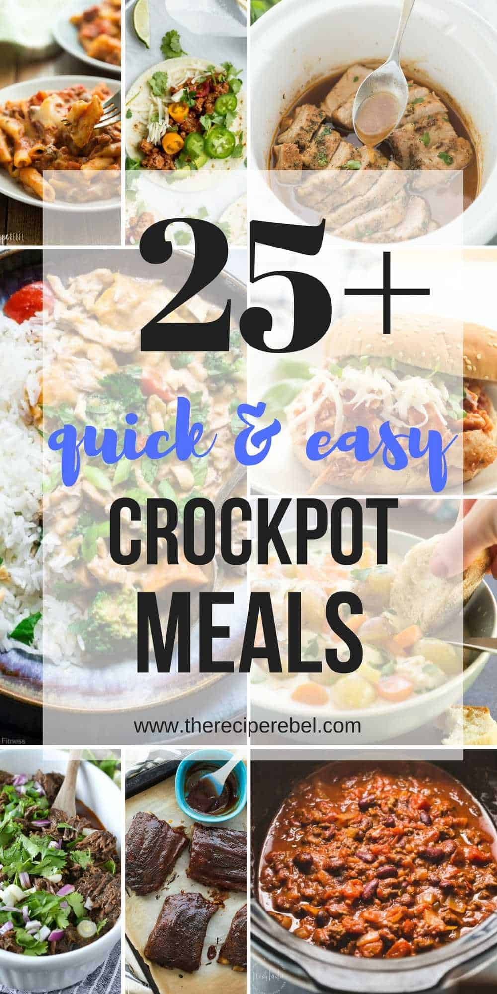 This EASY Crockpot Meals are perfect for those busy weekdays when it's a struggle to get dinner on the table, cozy and comforting for cooler days, or light and fresh for summer days. There's something for everyone! Crockpot pasta, soups, tacos, slow cooker ribs, pork, chicken or beef. TONS of easy crockpot dinners.
