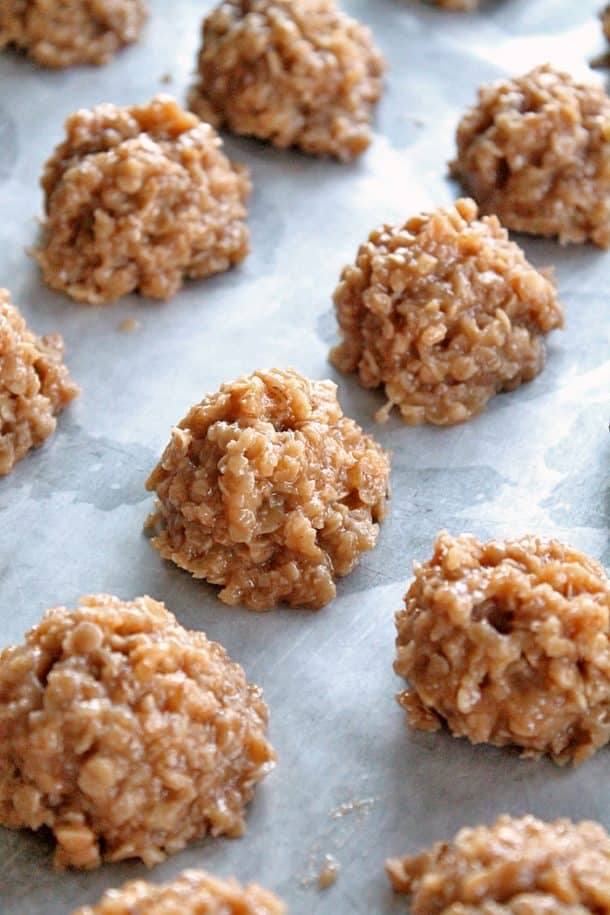 blondie no bake cookies in rounds on a piece of parchment paper