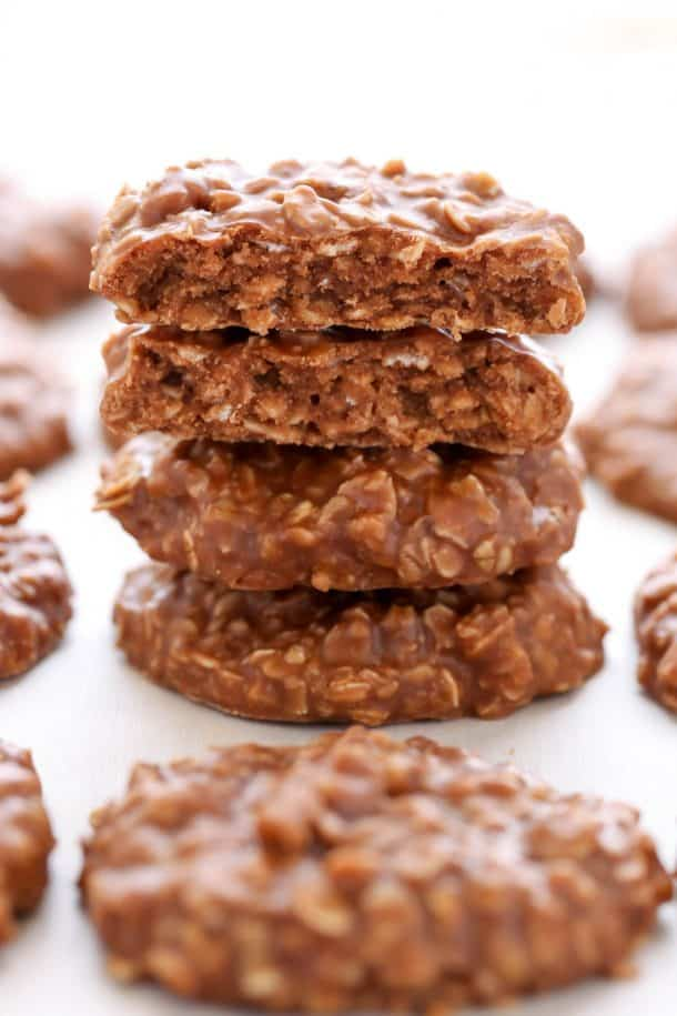classic no bake cookies stack of four close up on white background