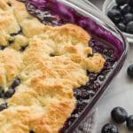 blueberry cobbler in a dish