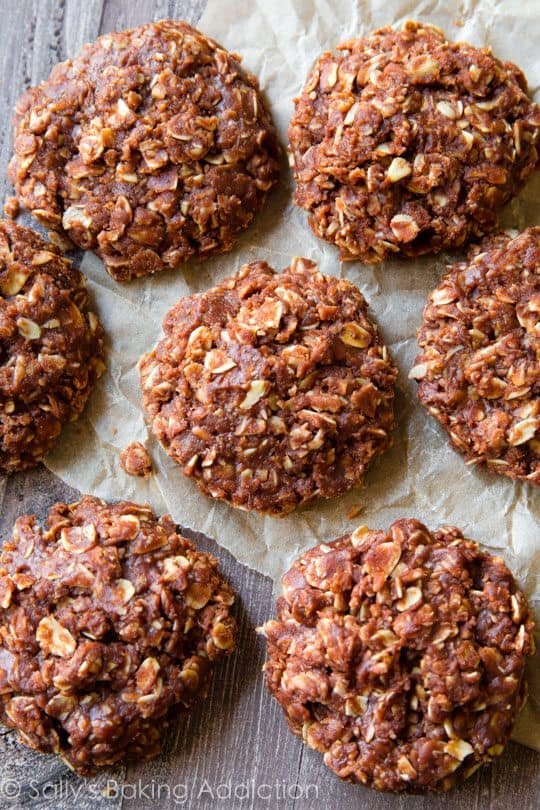peanut butter no bake cookies overhead on crumpled piece of parchment paper