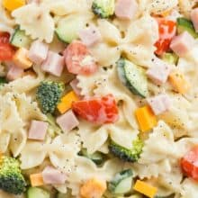 creamy ranch pasta salad close up
