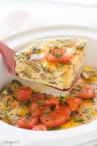 This easy Crockpot Breakfast Casserole is loaded with healthy ingredients and full of flavour! It's an easy way to pack protein into your morning, it's perfect for making ahead and is freezer friendly. Mix and match the meat and veggies to suit your tastes! #recipe #recipes #breakfast #brunch #slowcooker #crockpot