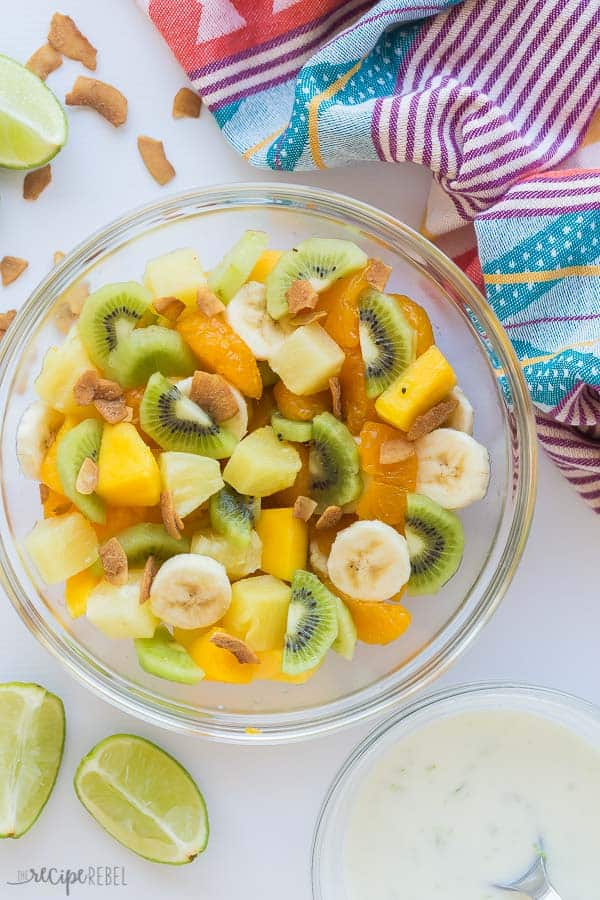 hawaiian fruit salad in a bowl