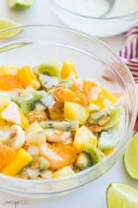 hawaiian fruit salad in a bowl side angle