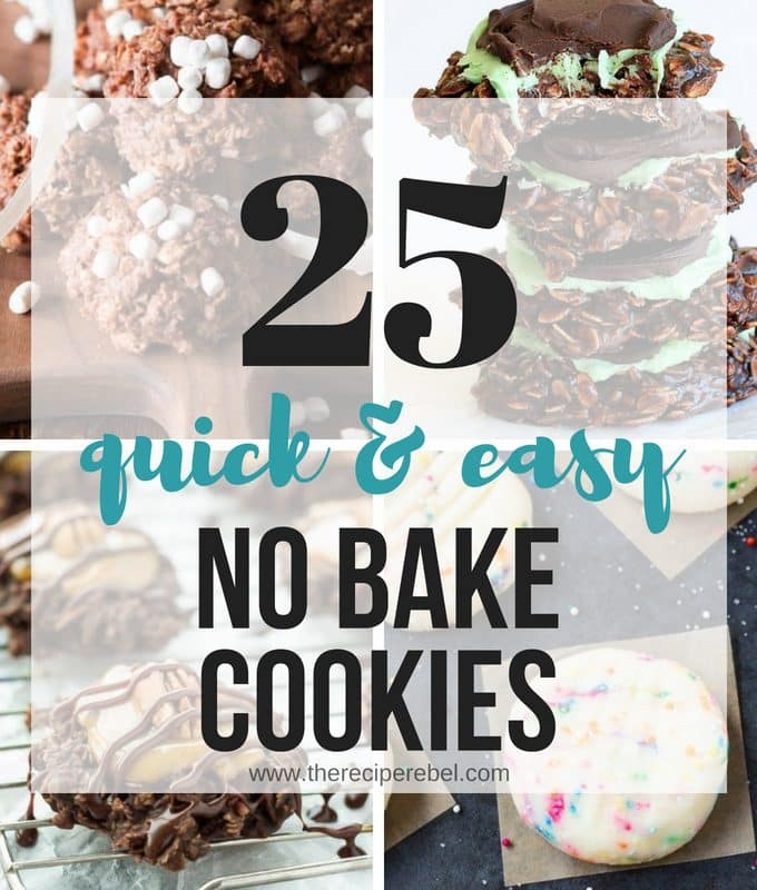 These No Bake Cookies recipes are all you need for summer! They are quick, easy, and no need to turn on the oven when the sun is shining! No Bake Oatmeal Cookies, No Bake Peanut Butter Cookies, Chocolate No Bake Cookies.... they're all here, plus a few new twists like mint chocolate and toasted coconut. All the easy no bake cookies you need! #NOBAKE #nobakecookies #cookie #cookies #recipe #easy #dessert #baking