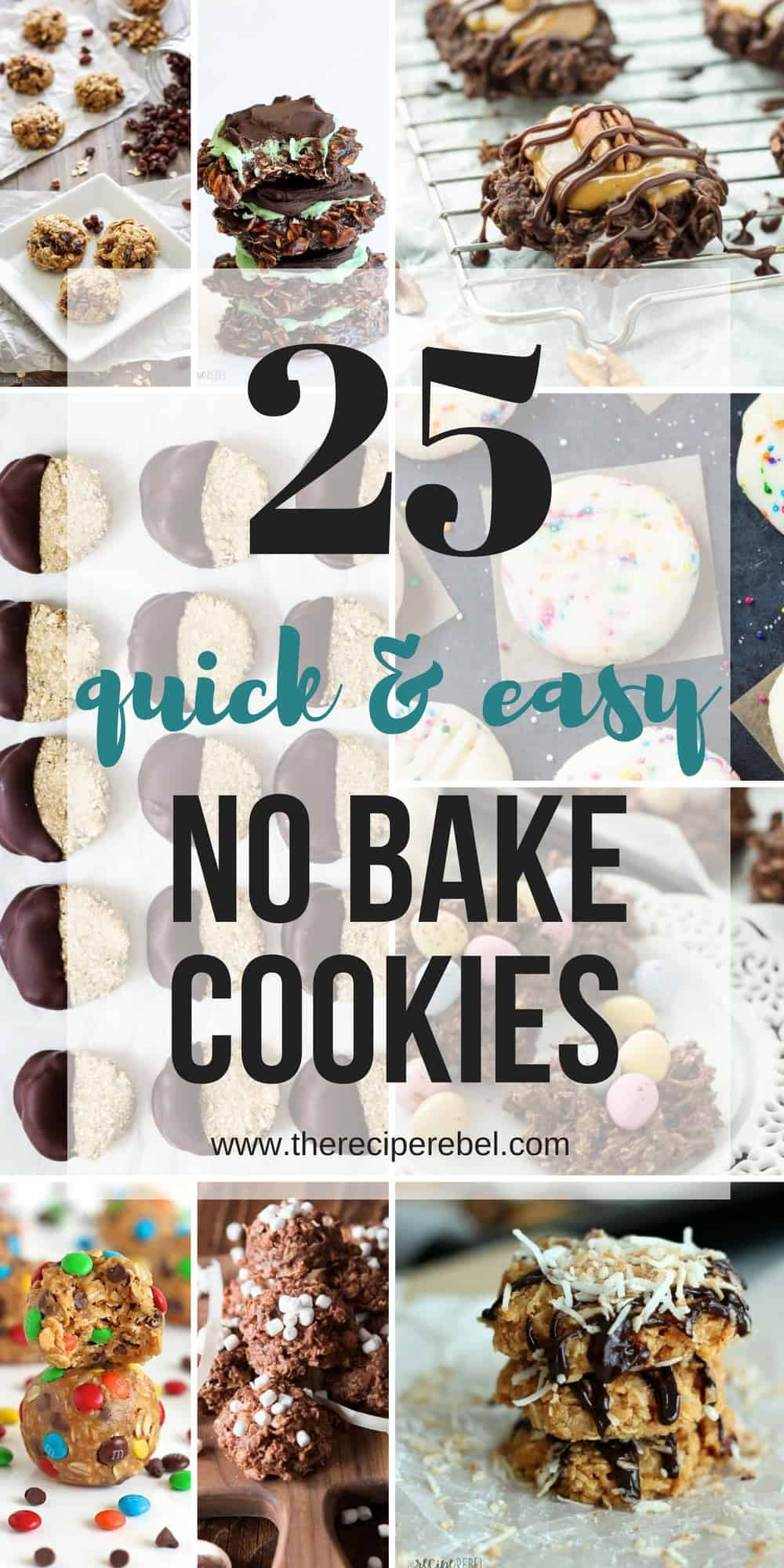 no bake cookie recipes collage with multiple images and text