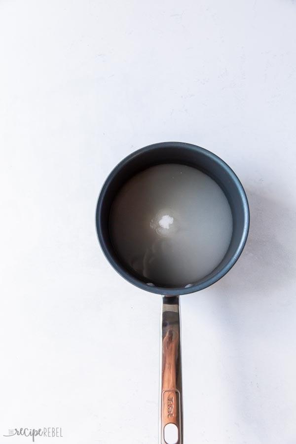 sugar and water in pan
