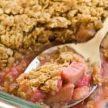 rhubarb crisp scoop in pan