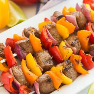 Fajita Steak Kabobs + VIDEO (with marinade)