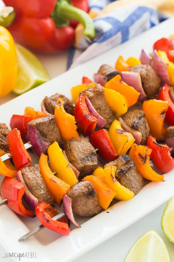 steak kabobs with peppers on a plate