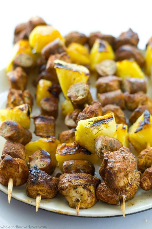 jerk chicken pineapple sausage kabobs