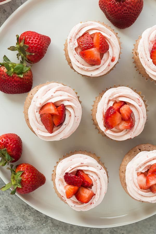 strawberry cupcakes with strawberry buttercream overhead