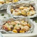These Chicken Cordon Bleu Foil Packets are SO easy with just 10 minutes prep! They're easy to prep ahead and make a great camping meal, can be cooked on the grill or in the oven. A true one