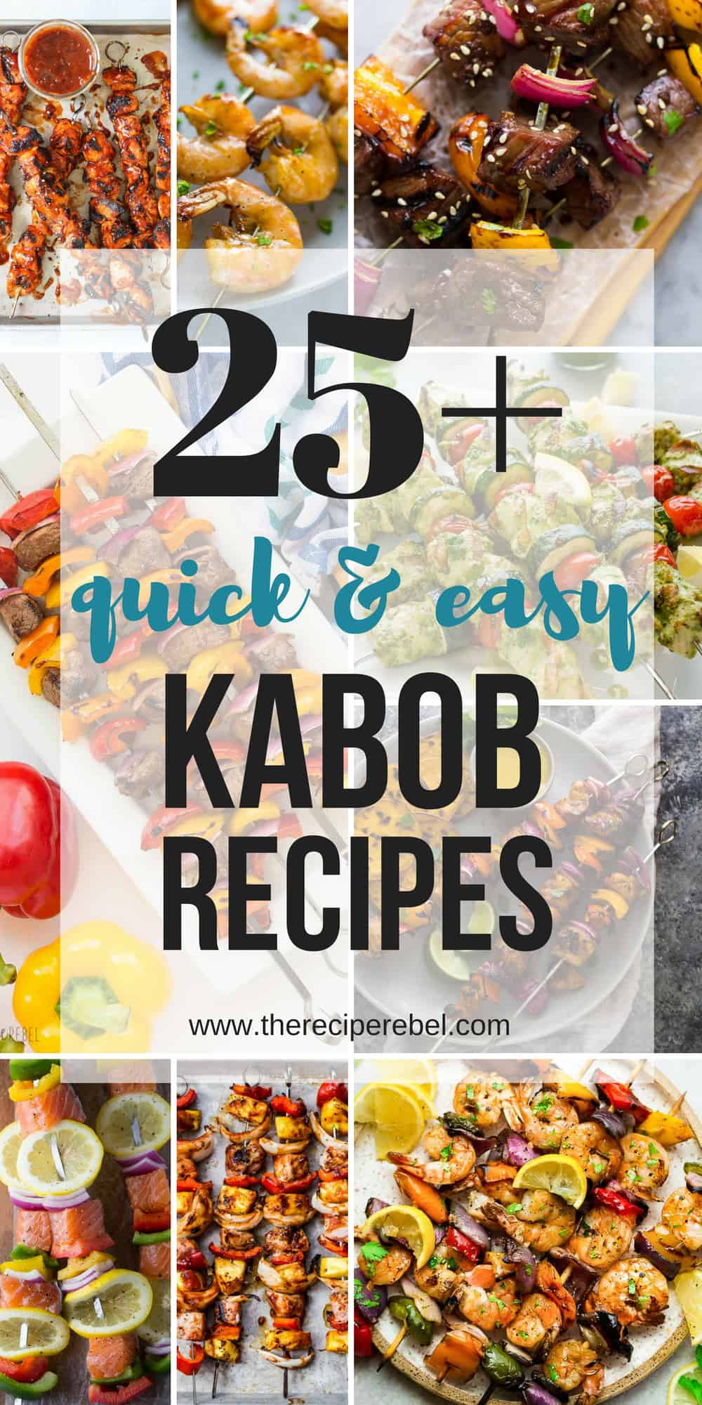 All kinds of kabob recipes for summer grilling! Chicken kabobs, shrimp kabobs, steak kabobs, and dessert kabobs! Because food on a stick is more fun ;)