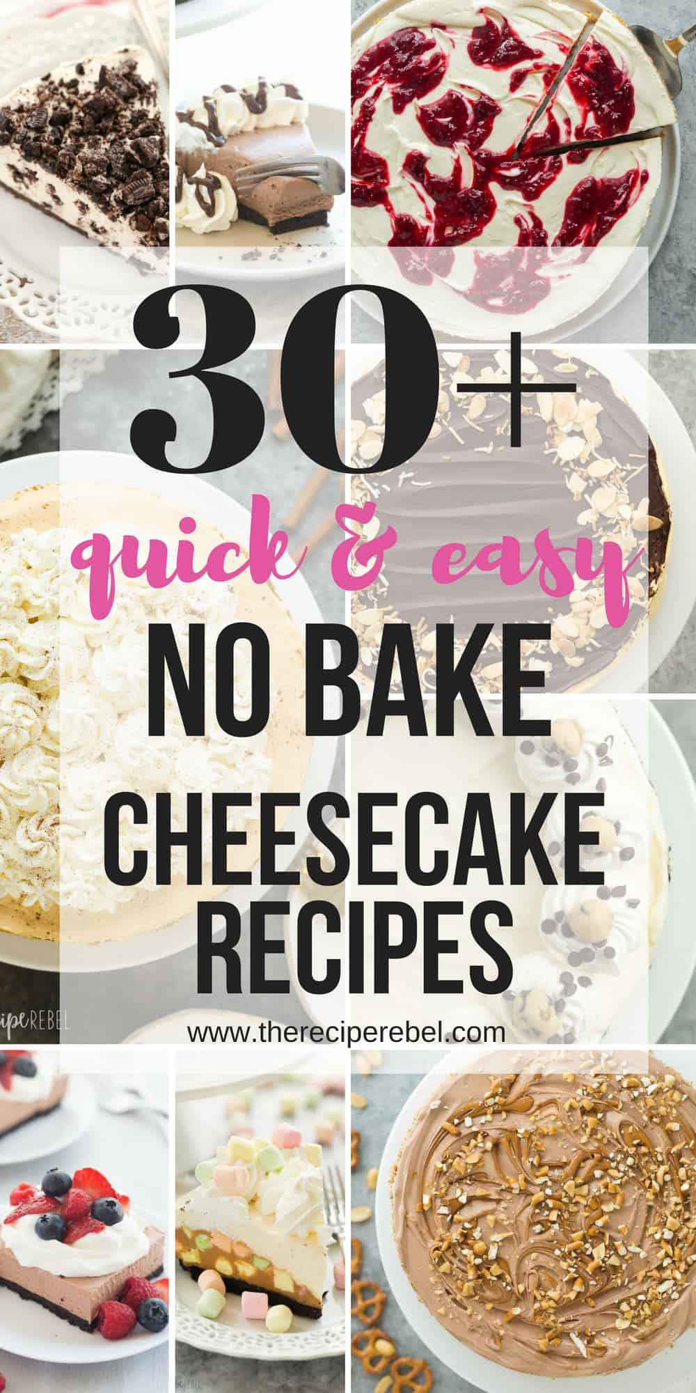 no bake cheesecake recipes collage for pinterest with multiple images and a title in black text