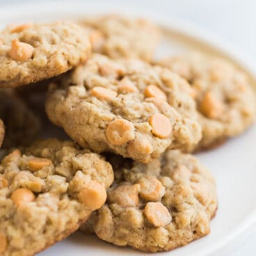 oatmeal butterscotch cookies on a plate