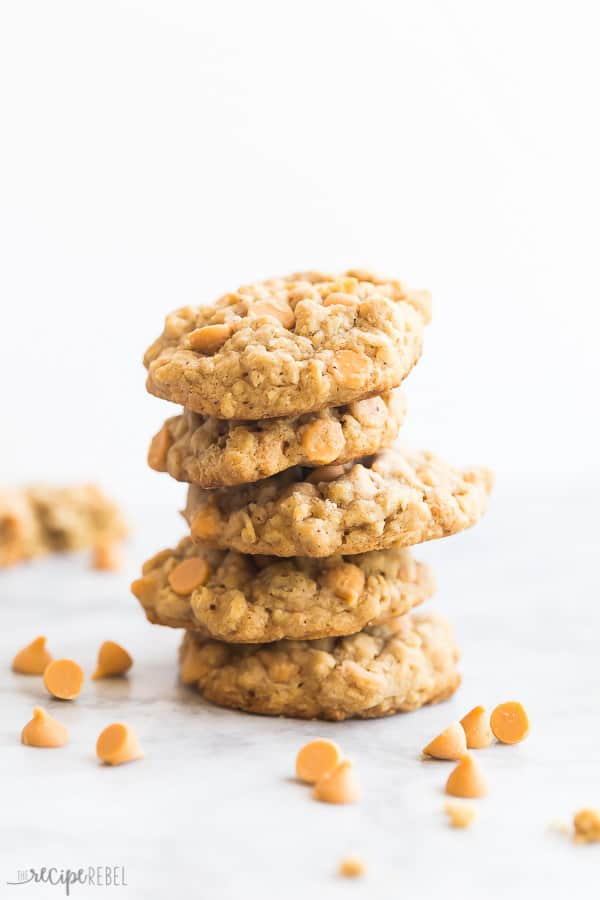 oatmeal butterscotch cookies stack with butterscotch chips all around