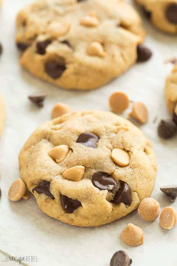 These Peanut Butter Chocolate Chip Cookies are a family favorite! They're soft and chewy and never fluffy! Loaded with chocolate chips and peanut butter chips, they are sure to please the Reese's peanut butter cups lovers in your house! Includes step by step recipe video!