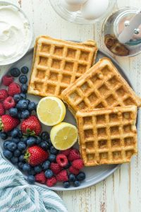 ricotta yeast waffles on a plate