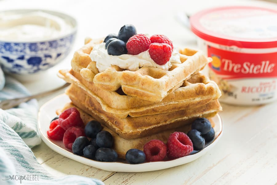ricotta waffles on plate with berries