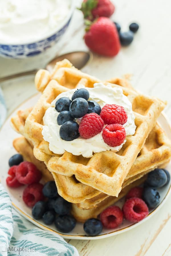 ricotta waffles with whipped cream