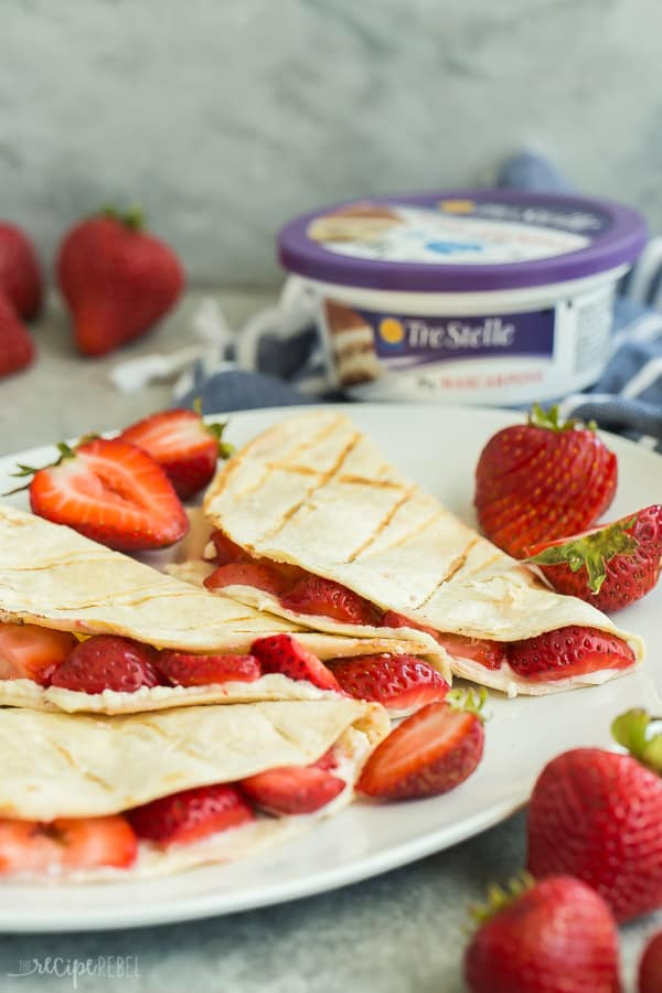 strawberry quesadillas on white plate