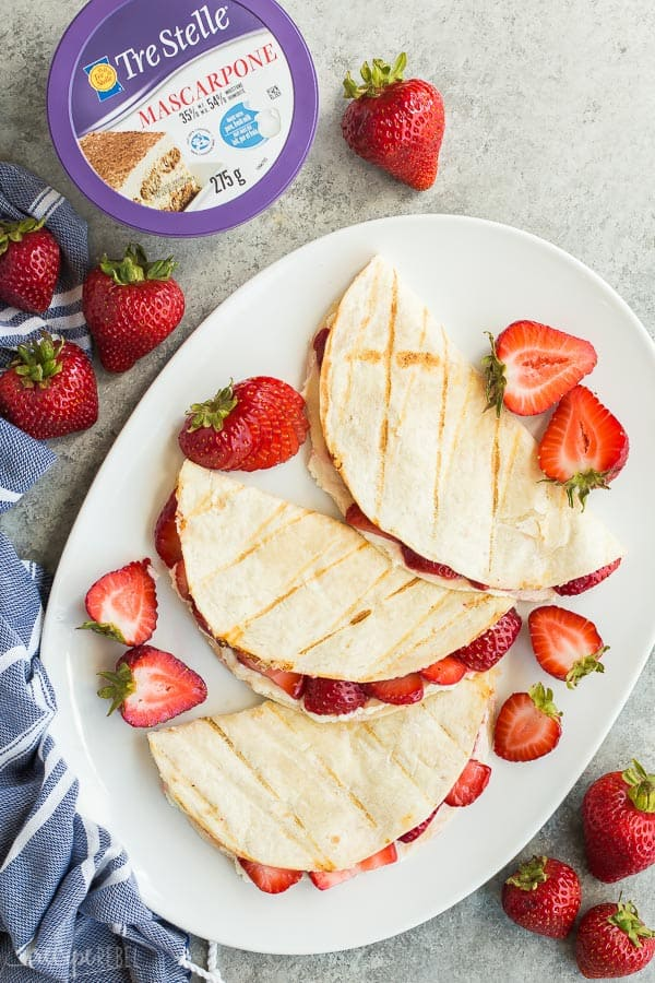strawberry cream cheese quesadillas overhead