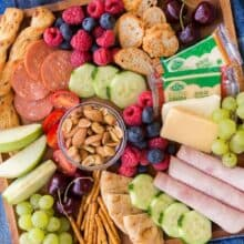 kid friendly summer cheese board overhead