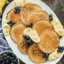 banana oatmeal pancakes on a platter