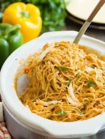 crockpot spaghetti with chicken scoop