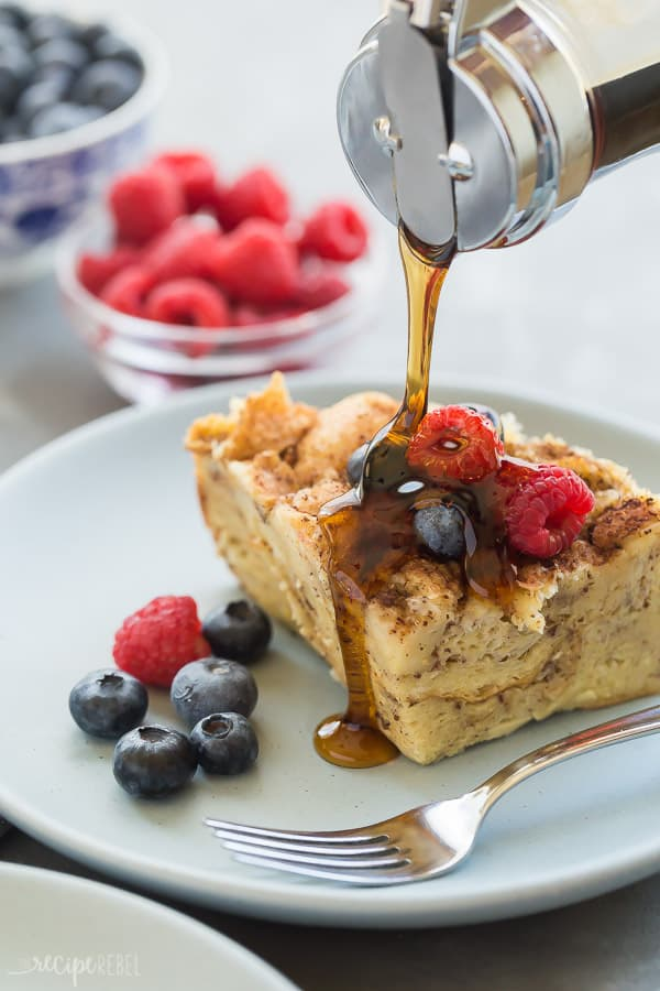 crockpot french toast with syrup drizzle