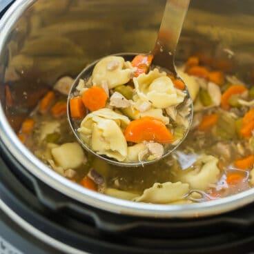instant pot chicken tortellini soup in pot