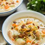 instant pot potato soup in white bowl