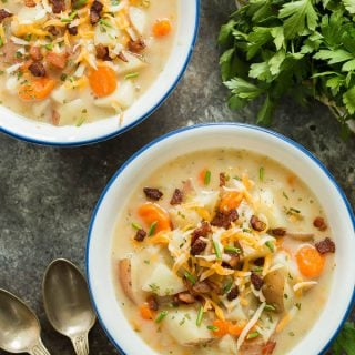 pressure cooker potato soup overhead
