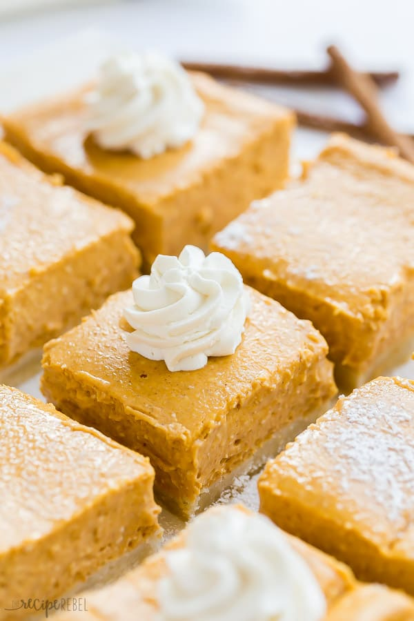 pumpkin cheesecake bars sliced close up with some swirls of whipped cream and cinnamon sticks in the background