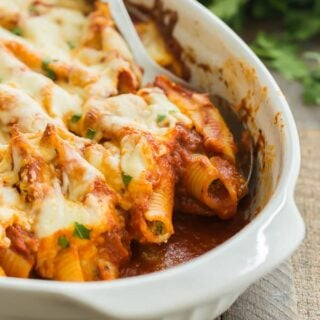 ricotta stuffed shells in scoop