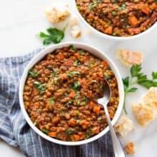 instant pot lentil soup in white bowl