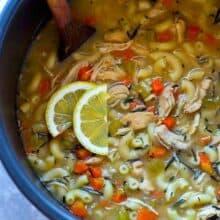 instant pot lemon rosemary chicken noodle soup with lemon slices