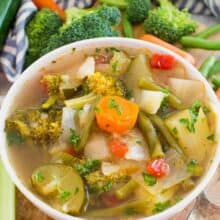 instant pot weight loss soup with veggies in the background