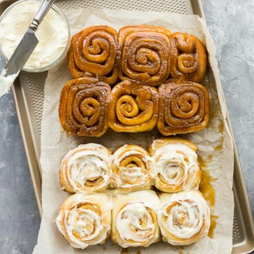 cinnamon buns frosted unfrosted overhead