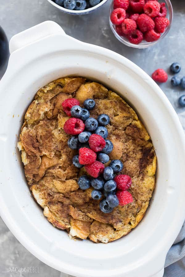 crockpot french toast overhead in slow cooker