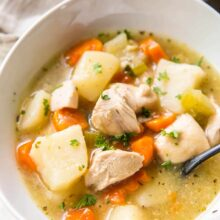 close up image of instant pot chicken stew in bowl