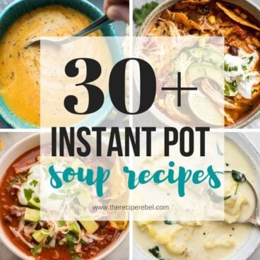 collage image for instant pot soup recipes with four images and title