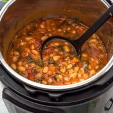 instant pot spicy white bean stew in pressure cooker
