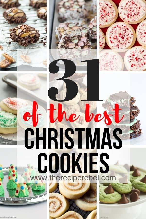 best christmas cookies collage with multiple images and title in black and red text
