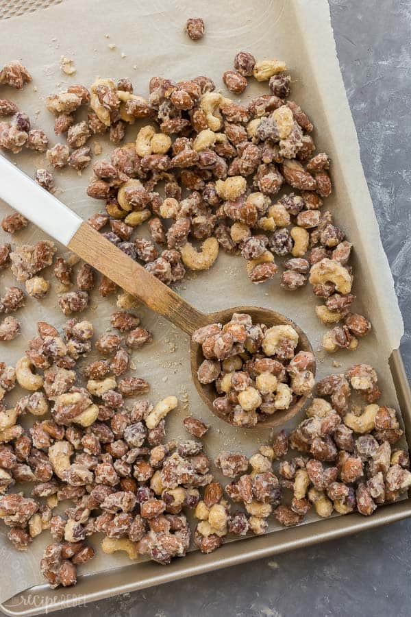 candied nuts on sheet pan