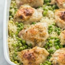 chicken and rice bake in casserole dish