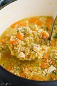 scoop of chicken rice soup